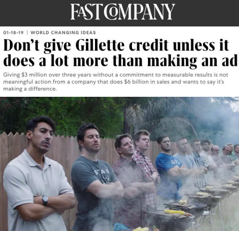 Don't give Gillette credit unless it does a lot more than making an ad