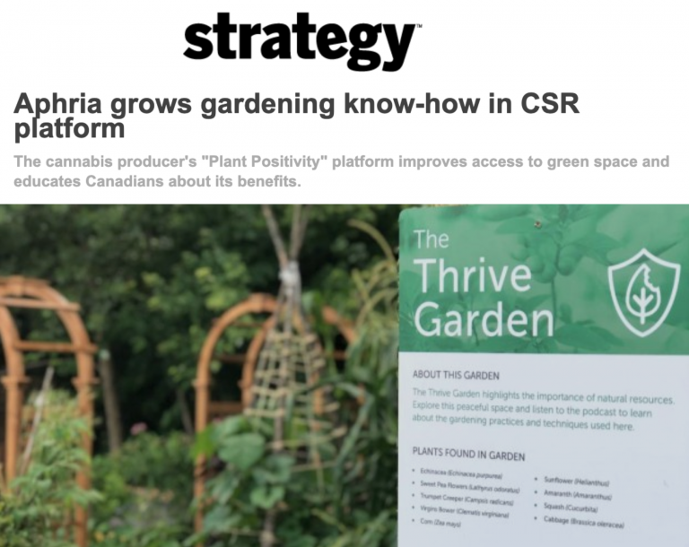 Aphria grows gardening know-how in CSR platform