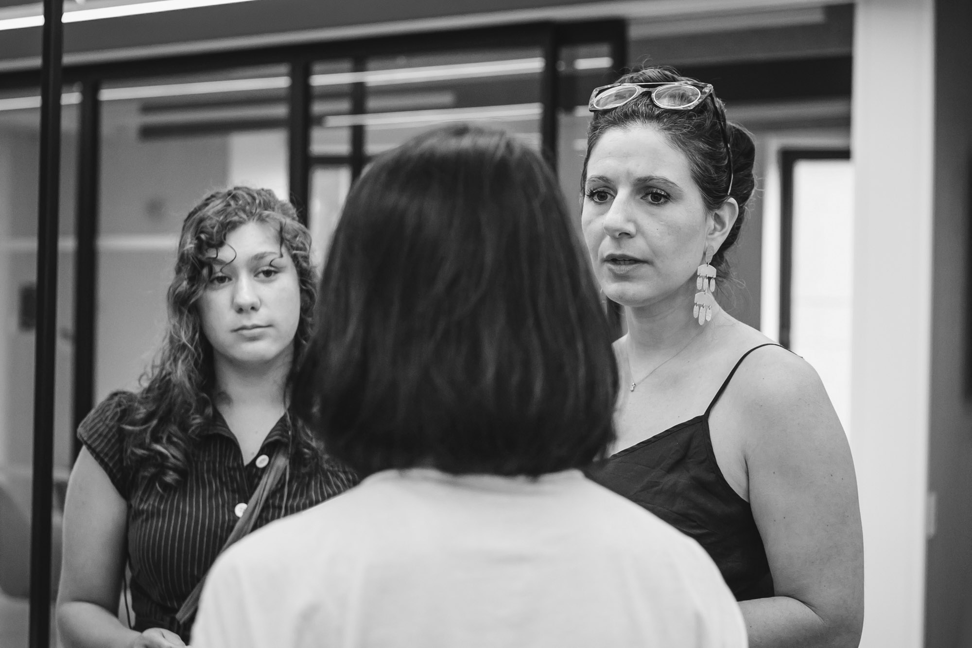 Three women in discussion