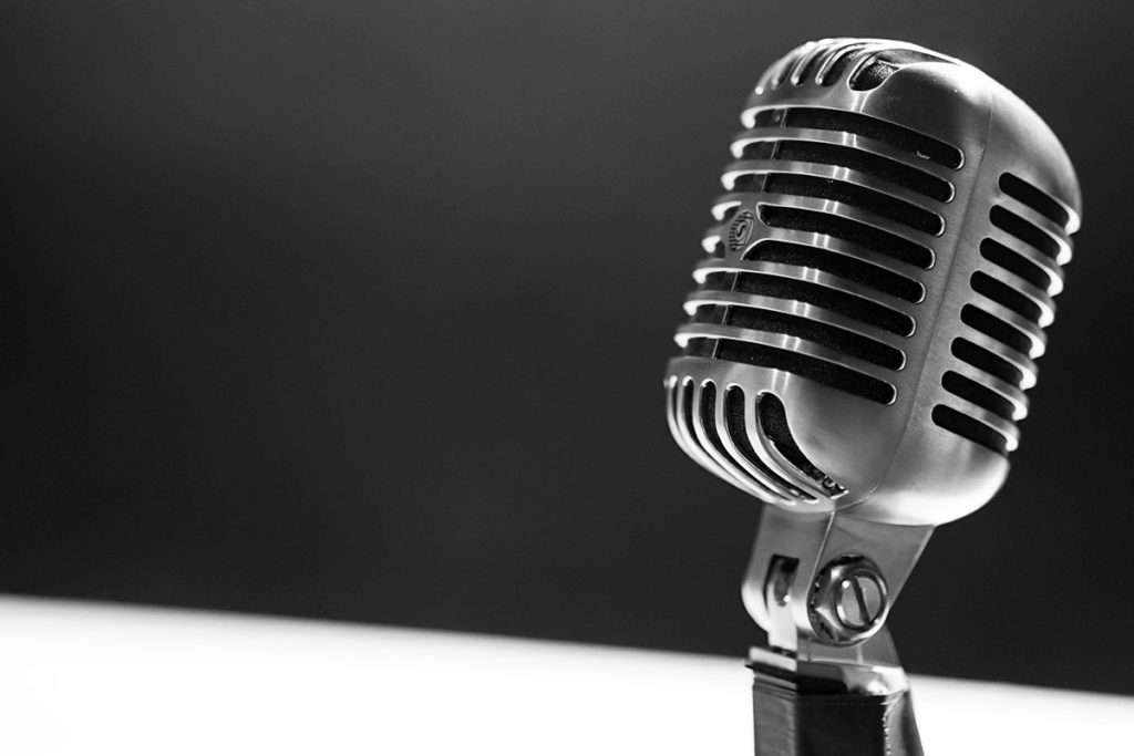 black and white image of a mic