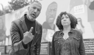 Image of a black man and woman with the former showing his middle finger, as part of the #EFF2020 campaign.